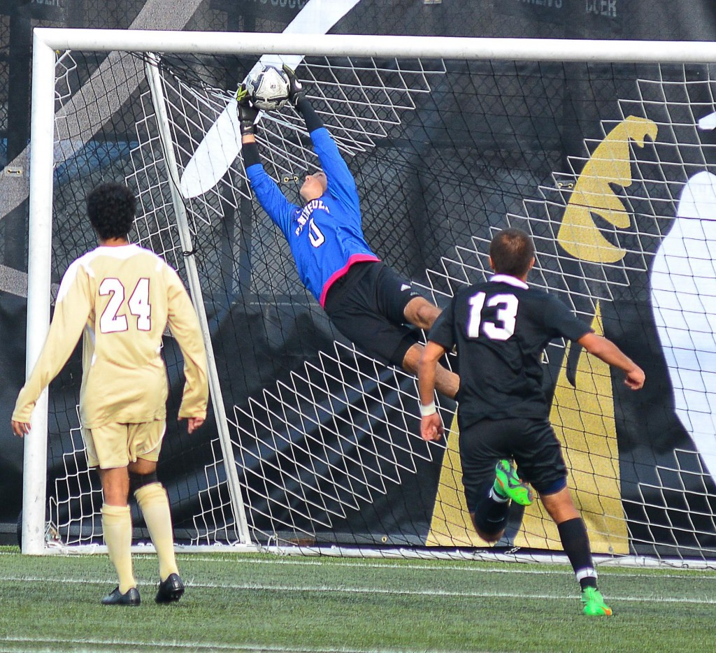 Keeper Nick Johnson making a diving save. - Photo by Jay R. Cline