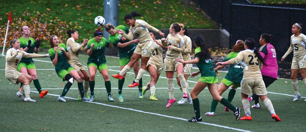 Peninsula women defending a Highline free kick during the NWAC semi-finals. Photo by Jay R. Cline