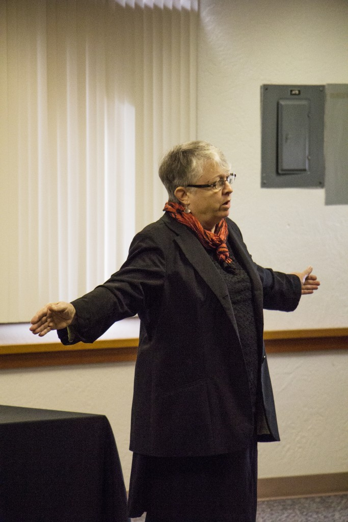 Buck at her public forum at Peninsula College. Photo by Giovanni Roverso.