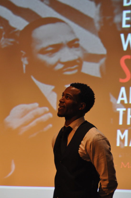 Jerod Grant of Everett Community College speaks to the audience during the Life and Legacy of Dr. King Studium Generale. - Photo by Kriska Obermiller